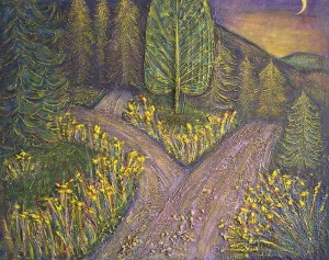 Roads II, 2003 — Mixed media on canvas — 55 x 44 cm — Private owned